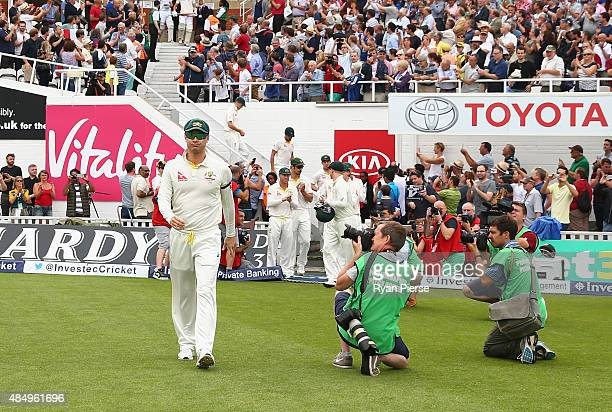 Michael Clarke of Australia walks onto the ground during his final test match during day four of the 5th Investec Ashes Test match between England...
