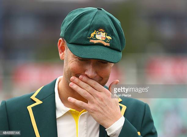 Michael Clarke of Australia walks out for his final coin toss during day one of the 5th Investec Ashes Test match between England and Australia at...