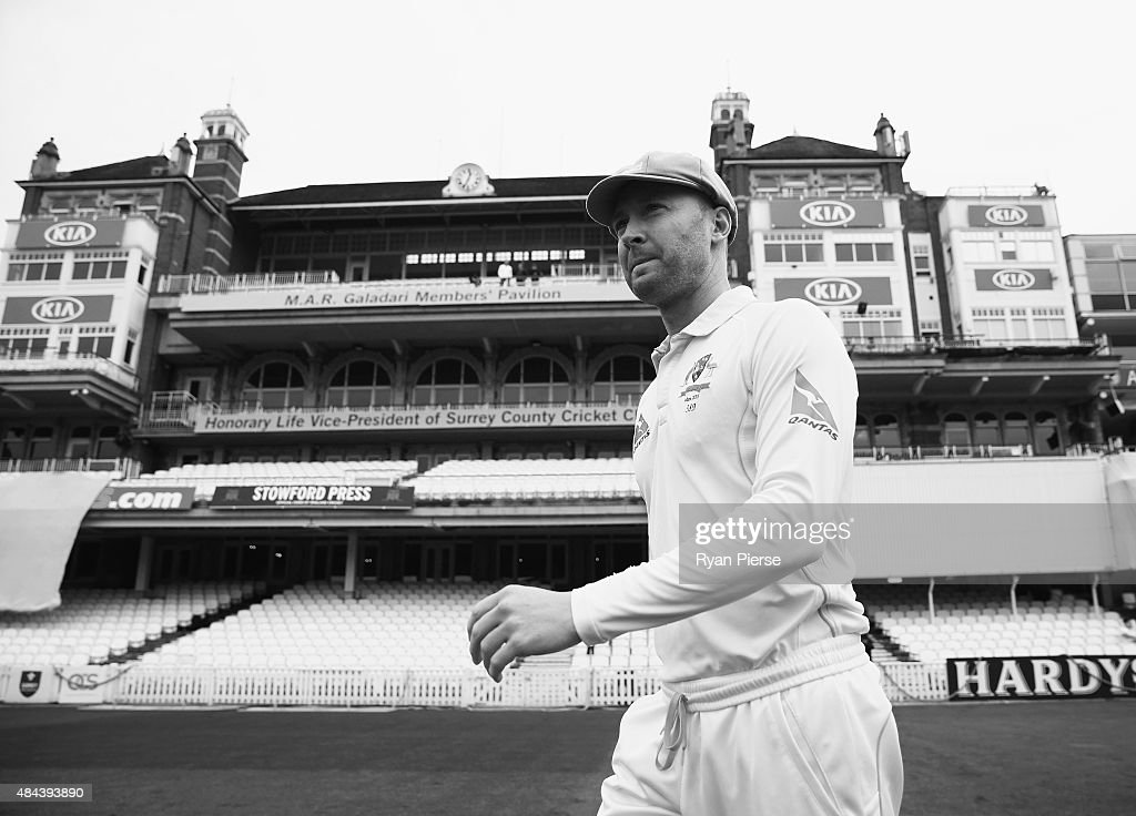 Michael Clarke of Australia walks out for the Cricket United charity team photo during a nets session ahead of the 5th Investec Ashes Test match between England and Australia at The Kia Oval on August 18, 2015 in London, United Kingdom.