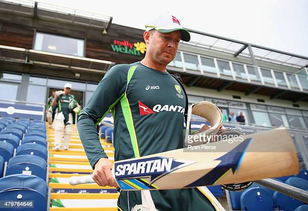Michael Clarke of Australia walks out to bat during a nets session ahead of the 1st Investec Ashes Test match between England and Australia at SWALEC...