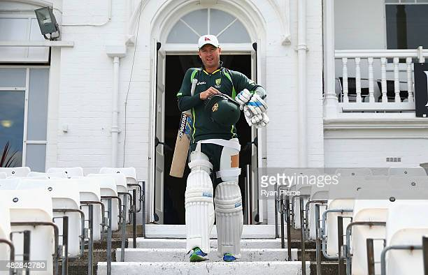 Michael Clarke of Australia walks out to bat during a nets session ahead of the 4th Investec Ashes Test match between England and Australia at Trent...