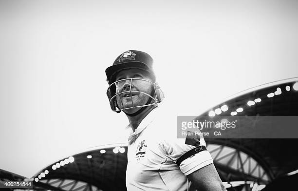 Michael Clarke of Australia walks out to bat during day two of the First Test match between Australia and India at Adelaide Oval on December 10 2014...
