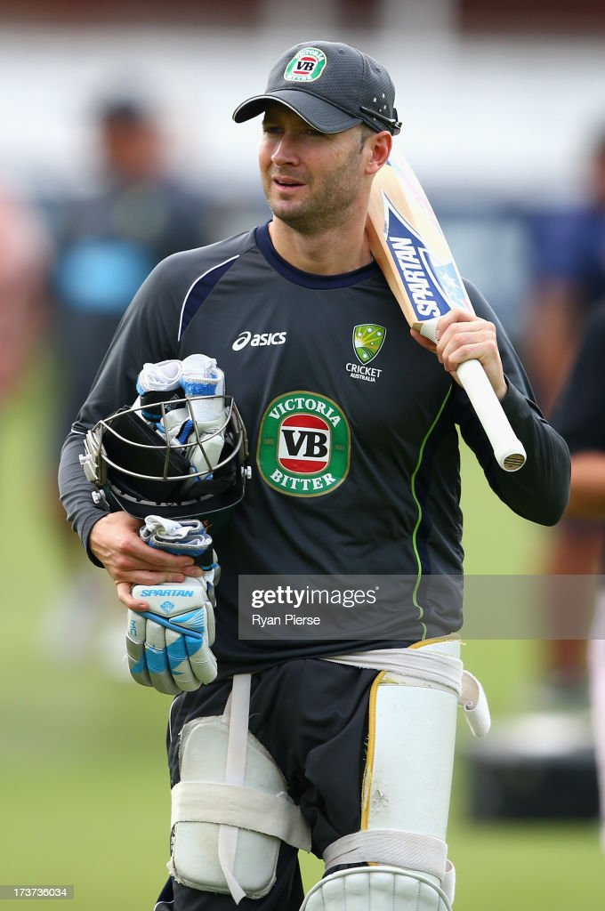 Michael Clarke of Australia walks to the nets during an Australian Nets Session at Lord's Cricket Ground on July 17, 2013 in London, England.