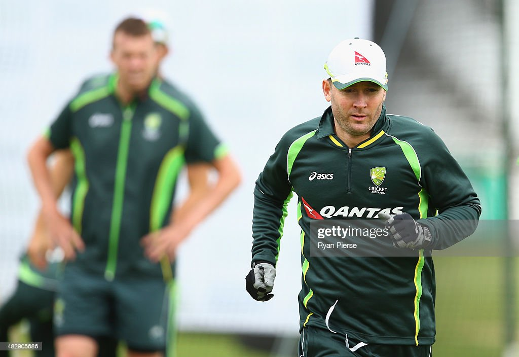 Michael Clarke of Australia warms up during a nets session ahead of the 4th Investec Ashes Test match between England and Australia at Trent Bridge on August 4, 2015 in Nottingham, United Kingdom.