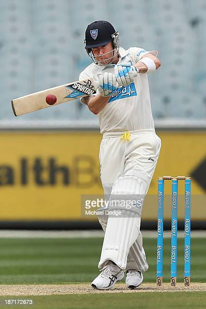 Michael Clarke of the Blues hits the ball during day two of the Sheffield Shield match between the Victoria Bushrangers and the New South Wales Blues...
