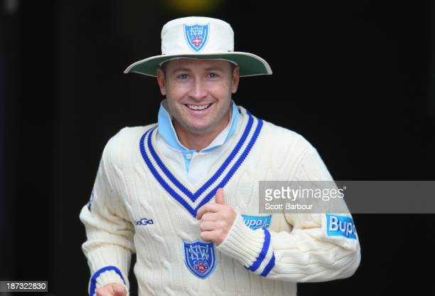 Michael Clarke of the Blues runs onto the field during day three of the Sheffield Shield match between the Victoria Bushrangers and the New South...