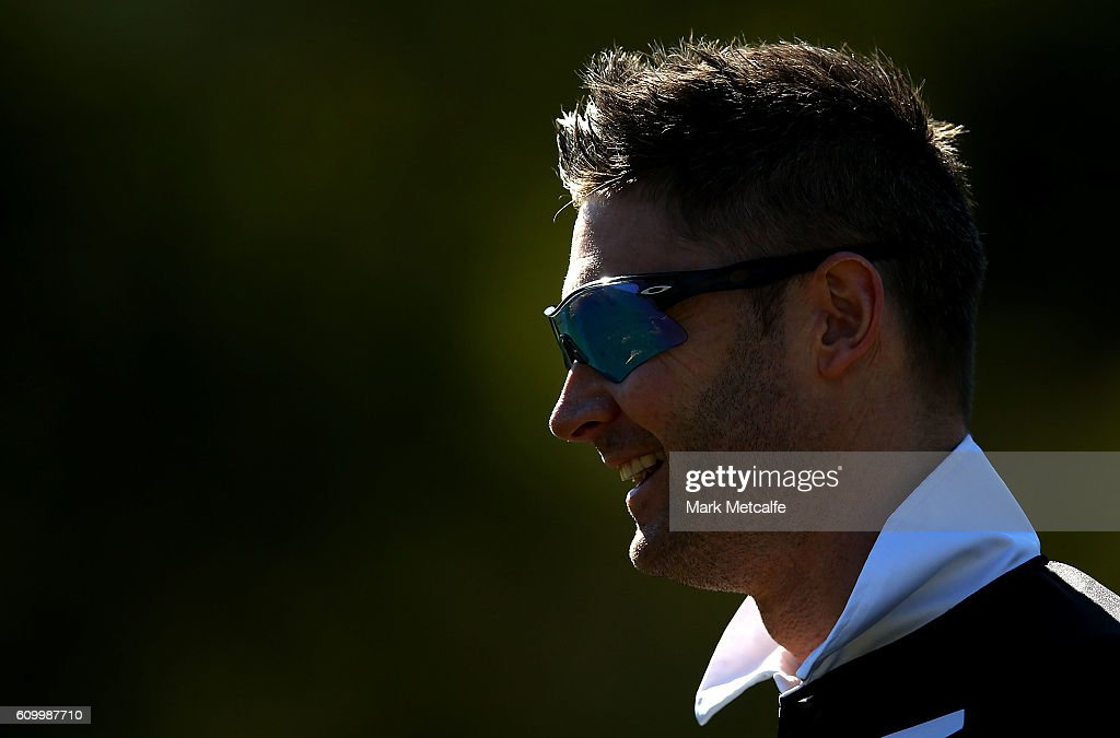 Michael Clarke of Western Suburbs looks on during warm up before the Mosman v Western Suburbs first grade match at Allan Border Oval on September 24, 2016 in Sydney, Australia.