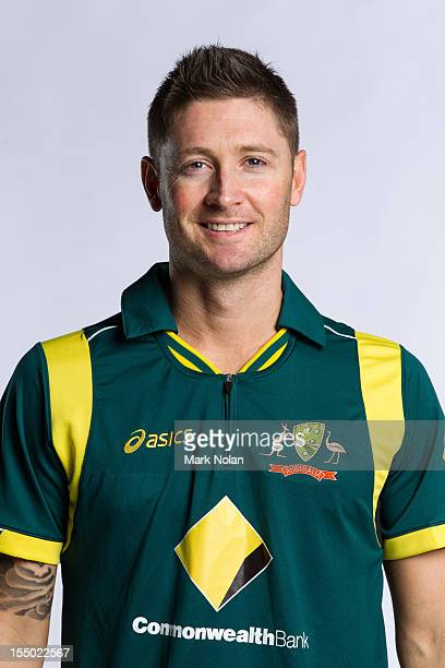 Michael Clarke poses during the official Australian One Day International cricket team headshots session on August 9 2012 in Darwin Australia
