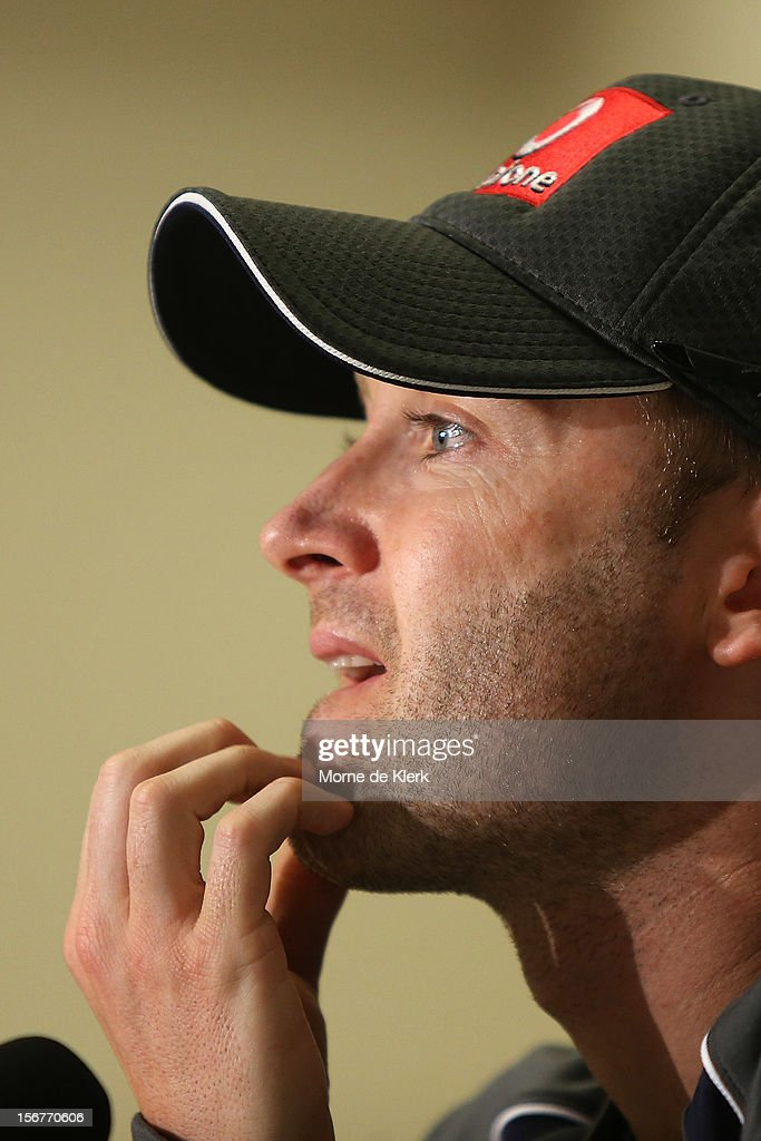 Michael Clarke speaks to the media during an Australian training session at Adelaide Oval on November 21, 2012 in Adelaide, Australia.