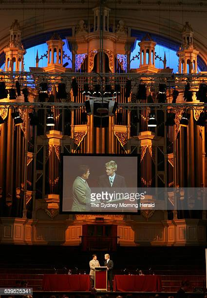 Michael Clarke talks with Mark Taylor at The Game is Not the Same luncheon at Sydney Town Hall organised by the Northern District Cricket Club 10...