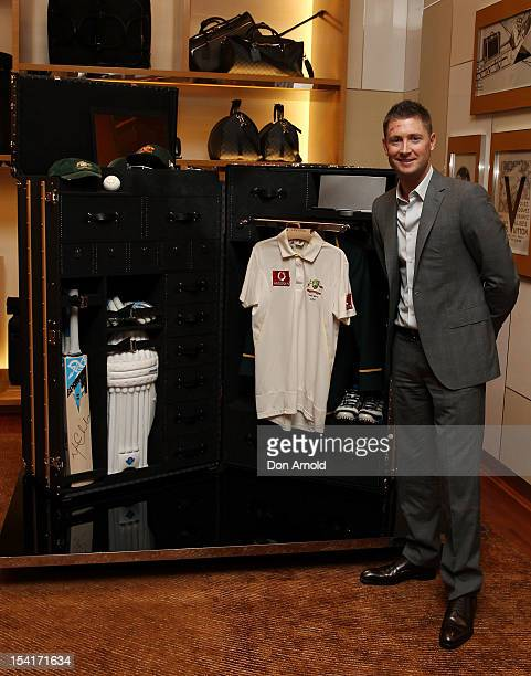 Michael Clarke unveils a Louis Vuitton cricket trunk designed for Michael Clarke during a press conference on October 16 2012 in Sydney Australia...