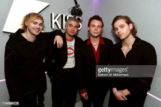 Michael Clifford, Calum Hood, Ashton Irwin and Luke Hemmings of 5 Seconds Of Summer during a visit at Kiss FM Studio's on June 10, 2019 in London,...