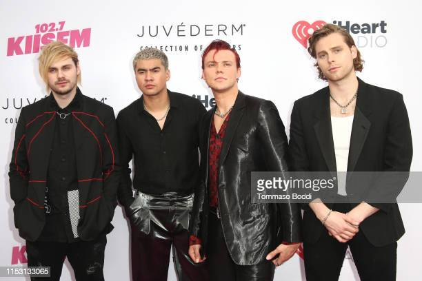 Michael Clifford Calum Hood Ashton Irwin and Luke Hemmings of music group 5 Seconds of Summer attend 2019 iHeartRadio Wango Tango presented by The...