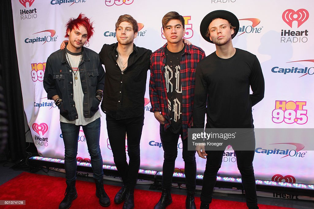 Michael Clifford, Luke Hemming, Calum Hood, and Ashton Irving of 5 Seconds of Summer attend the 2015 iHeartRadio Jingle Ball at Verizon Center on December 14, 2015 in Washington, DC.
