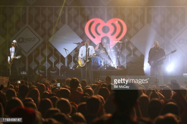 Michael Clifford Luke Hemmings Ashton Irwin and Calum Hood of '5 Seconds of Summer' perform onstage during Q102's Jingle Ball 2019 Presented by...