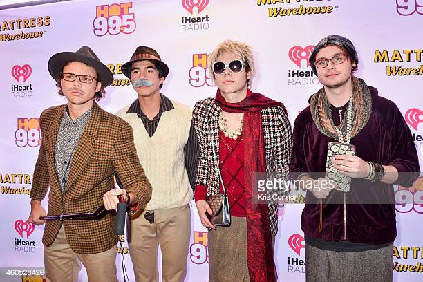Michael Clifford Luke Hemmings Ashton Irwin and Calum Hood of 5 Seconds of Summer pose in the press room during Hot 995's Jingle Ball on December 15...