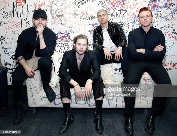 Michael Clifford Luke Hemmings Calum Hood and Ashton Irwin of 5 Seconds Of Summer visit Music Choice on June 03 2019 in New York City