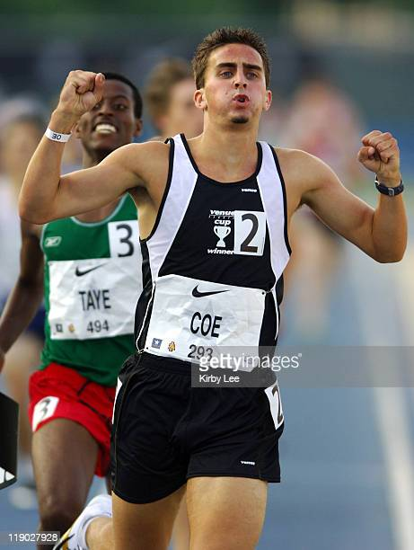 Michael Coe celebrates after winning the mile in 4:08.21 in the Nike Outdoor Nationals at North Carollina A&T's Aggie Stadium in Greensboro, N.C. On...