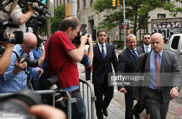 Michael Cohen a longtime personal lawyer and confidante for President Donald Trump arrives with his lawyers at the United States District Court...