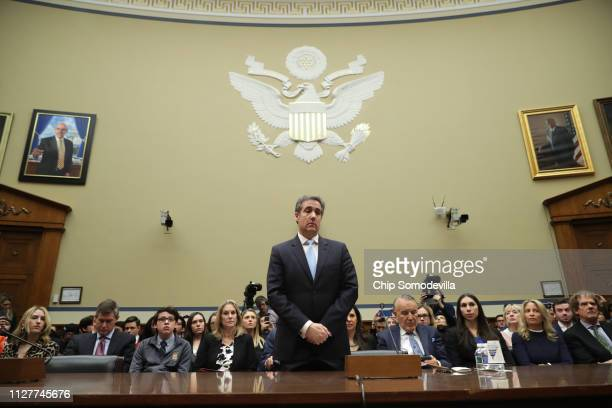 Michael Cohen former attorney and fixer for President Donald Trump prepares to testify before the House Oversight Committee on Capitol Hill February...