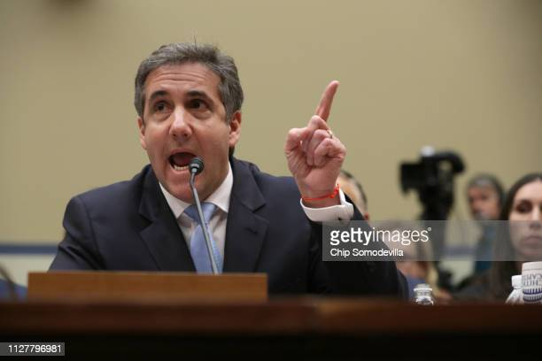 Michael Cohen former attorney and fixer for President Donald Trump testifies before the House Oversight Committee on Capitol Hill February 27 2019 in...