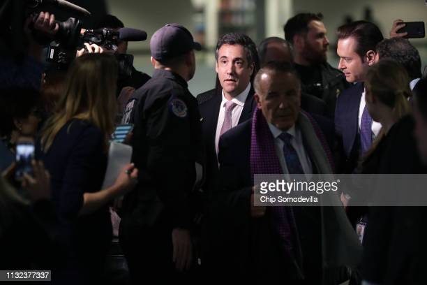 Michael Cohen former attorney and fixer for President Donald Trump leaves after testifying before the Senate Intelligence Committee for more than 8...