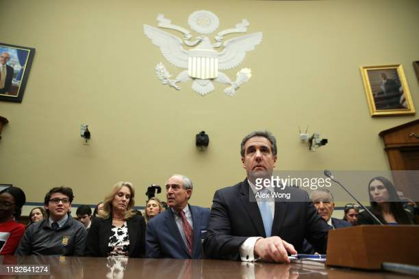 Michael Cohen, former attorney and fixer for President Donald Trump, testifies before the House Oversight Committee on Capitol Hill February 27, 2019...