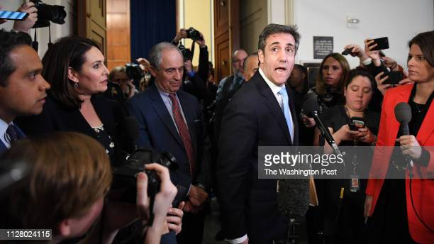 Michael Cohen former attorney to President Donald Trump addresses the media after he testified before the House Oversight Committee at the Rayburn...