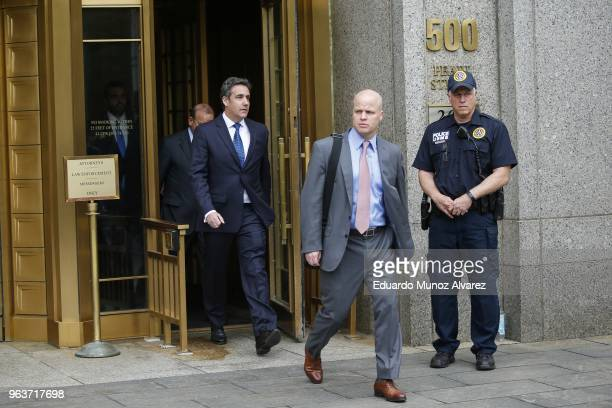 Michael Cohen former personal lawyer and confidante for President Donald Trump exits the United States District Court Southern District of New York...