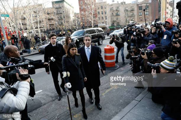 Michael Cohen former personal lawyer to US President Donald Trump center arrives at federal court with his daughter Samantha Cohen left in New York...