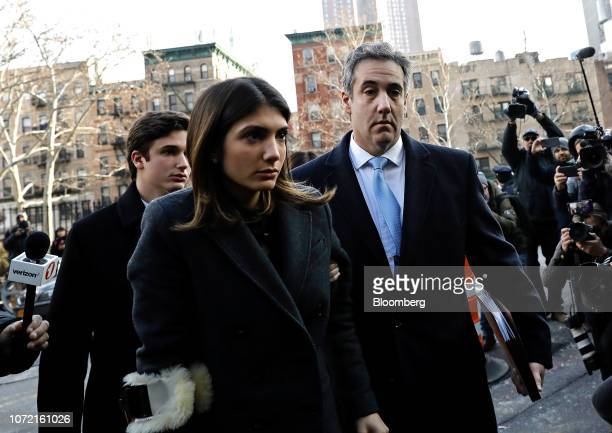 Michael Cohen former personal lawyer to US President Donald Trump right arrives at federal court with his daughter Samantha Cohen center in New York...