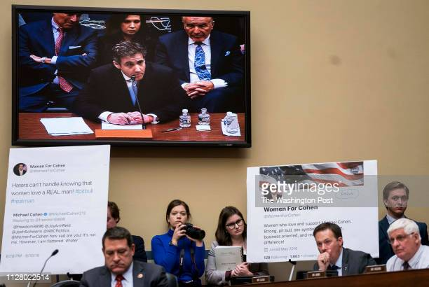Michael Cohen former trusted aide and lawyer to President Donald Trump testifies before the House Oversight and Reform Committee on Capitol Hill in...