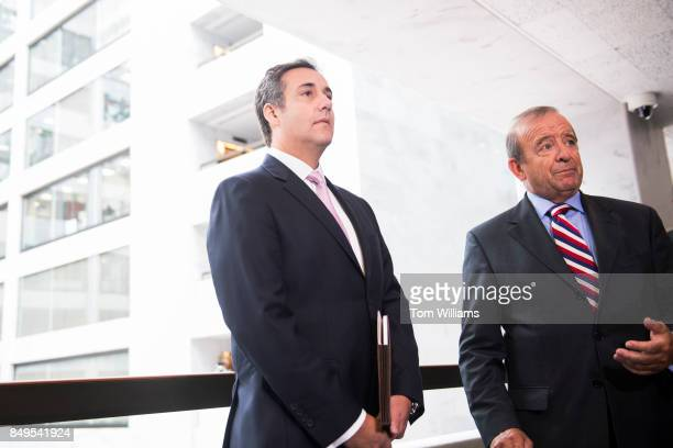 Michael Cohen left a personal attorney for President Trump and his lawyer Stephen Ryan address the media in Hart Building after the Senate...