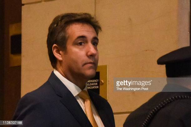 Michael Cohen longtime lawyer for Donald Trump arrives at the US Capitol to testify before the House Intelligence Committee in a closed session on...