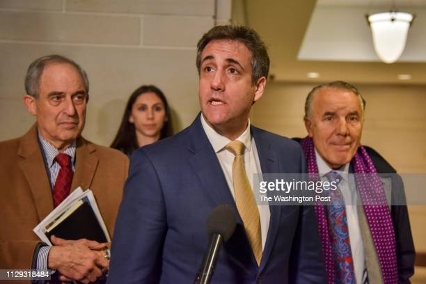 Michael Cohen longtime lawyer for Donald Trump leaves the hearing room at the US Capitol after testifying before the House Intelligence Committee in...