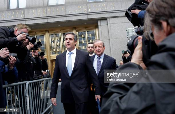 Michael Cohen longtime personal lawyer and confidante for President Donald Trump leaves Federal Court after his hearing at the United States District...