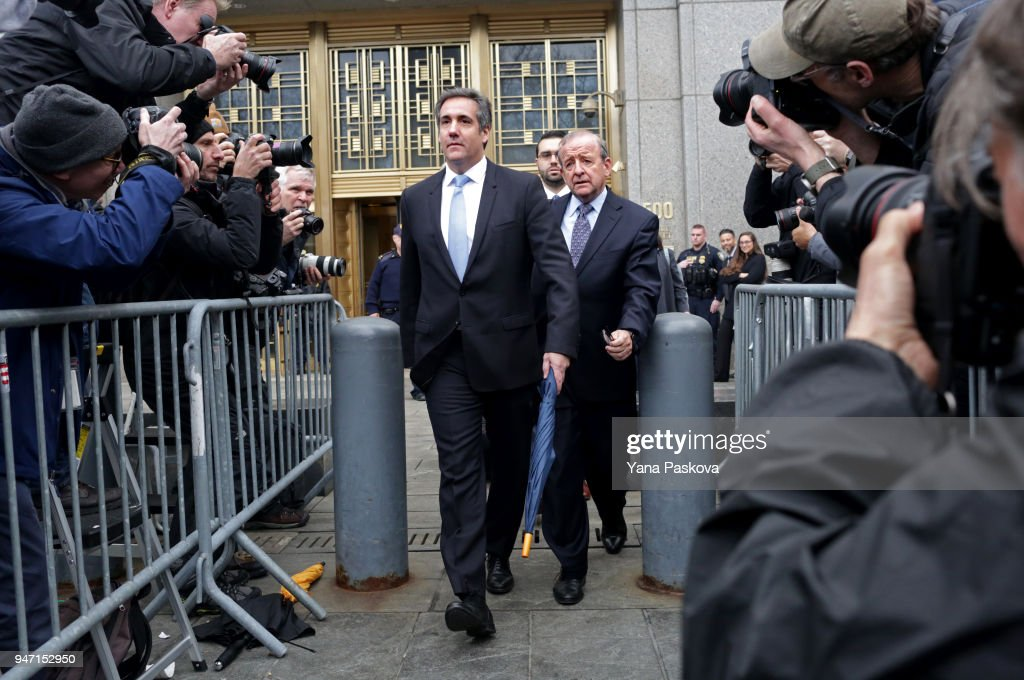Michael Cohen, longtime personal lawyer and confidante for President Donald Trump, leaves Federal Court after his hearing at the United States District Court Southern District of New York April 16, 2018 in New York City. Cohen and lawyers representing President Trump are asking the court to block Justice Department officials from reading documents and materials related to his Cohen's relationship with President Trump that they believe should be protected by attorney-client privilege. Officials with the FBI, armed with a search warrant, raided Cohen's office and two private residences last week.