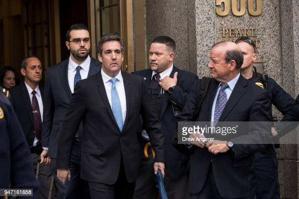 Michael Cohen longtime personal lawyer and confidante for President Donald Trump exits the United States District Court Southern District of New York...
