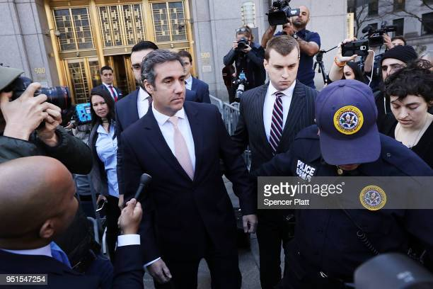 Michael Cohen longtime personal lawyer and confidante for President Donald Trump leaves the United States District Court Southern District of New...