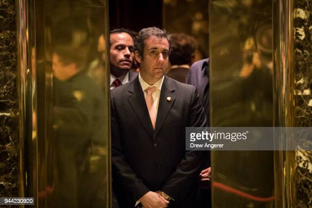 Michael Cohen personal lawyer for Presidentelect Donald Trump gets into an elevator at Trump Tower December 12 2016 in New York City Presidentelect...