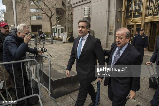 Michael Cohen personal lawyer to US President Donald Trump center exits from Federal Court in New York US on Monday April 16 2018 After an afternoon...