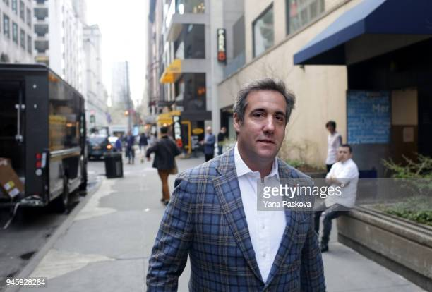 Michael Cohen President Donald Trump's attorney walks to the Loews Regency hotel on Park Ave on April 13 2018 in New York City Following FBI raids on...