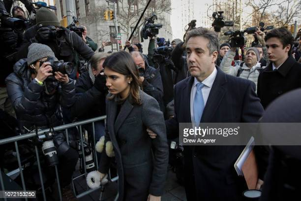 Michael Cohen President Donald Trump's former personal attorney and fixer arrives with his family at federal court for his sentencing hearing on...