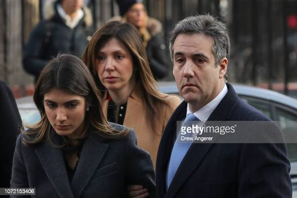 Michael Cohen President Donald Trump's former personal attorney and fixer arrives with daughter Samantha Blake Cohen and wife Laura Shusterman at...