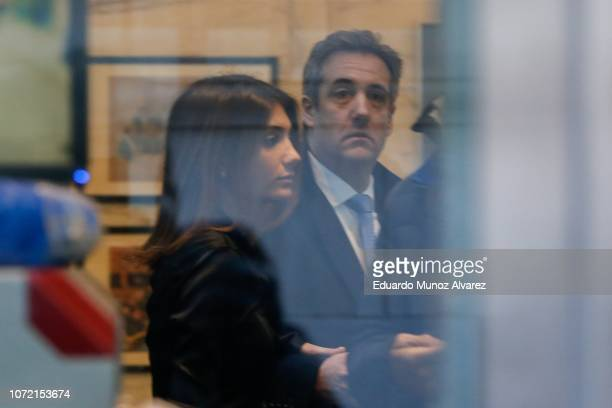 Michael Cohen President Donald Trump's former personal attorney and fixer is seen inside the federal court with his daughter Samantha Blake Cohen as...