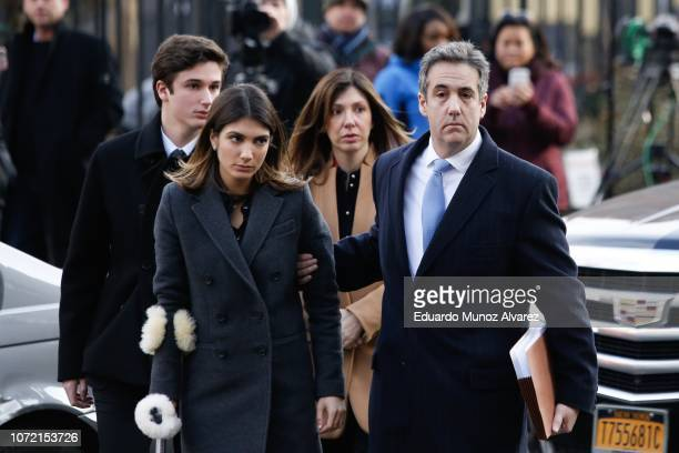 Michael Cohen President Donald Trump's former personal attorney and fixer arrives with his family at federal court for his sentencing hearing...
