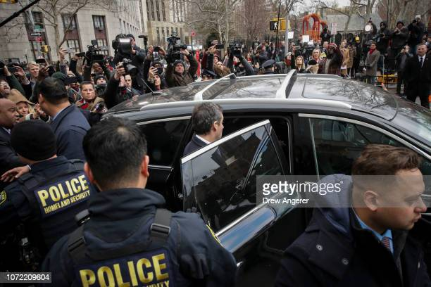 Michael Cohen President Donald Trump's former personal attorney and fixer gets into a car as he exits federal court after his sentencing hearing...