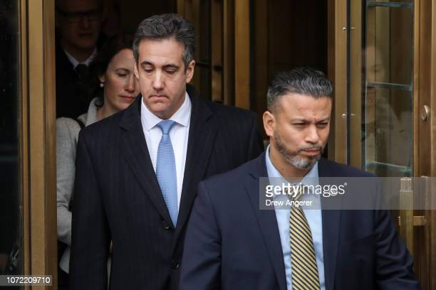 Michael Cohen President Donald Trump's former personal attorney and fixer exits federal court after his sentencing hearing December 12 2018 in New...