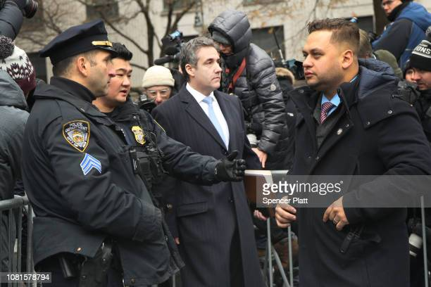 Michael Cohen President Donald Trump's former personal attorney and fixer walks out of a federal courthouse in Manhattan on December 12 2018 in New...