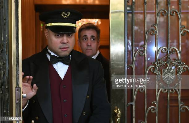 TOPSHOT Michael Cohen the former lawyer for US President Donald Trump leaves his Park Avenue apartment May 6 2019 in New York City to begin serving a...